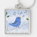 Singing Cute Bluebird Keychain