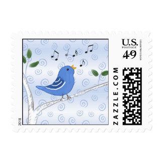 Singing Cute Bluebird Postage