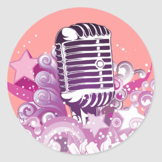 singing diva vintage microphone vector classic round sticker