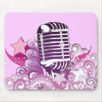 singing diva vintage microphone vector mouse pad