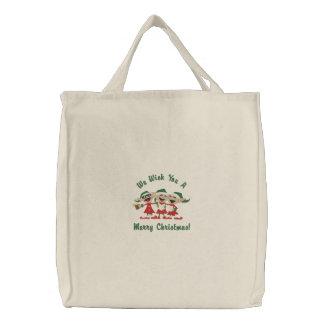 Singing Elves Embroidered Tote Bag