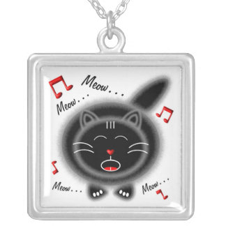 Singing Fat Black Grey Fur Cat Silver Plated Necklace