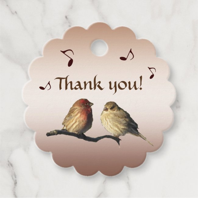 Singing Finch Birds Thank You Favor Tags