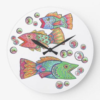 Singing Fish Round Clock