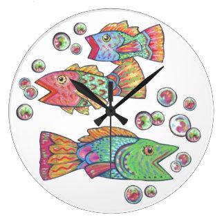 Singing Fish Large Clock