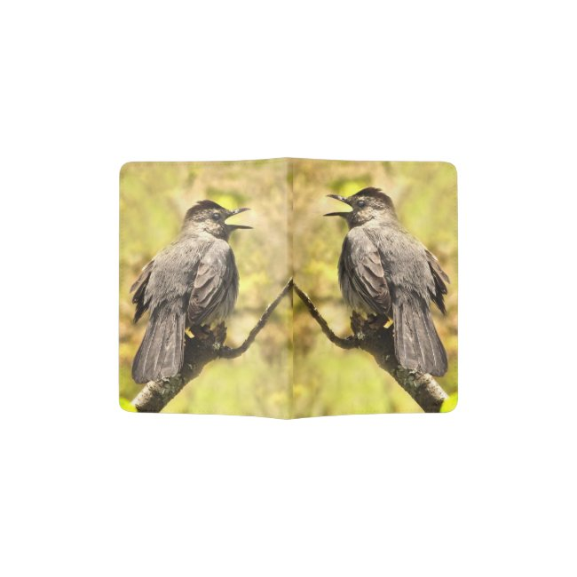 Singing Gray Catbirds Yellow Passport Holder