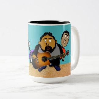 Singing Guitar Player Photo Bomb Cartoon Two-Tone Coffee Mug