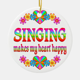 Singing Heart Happy Ceramic Ornament