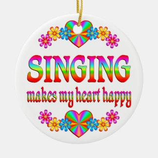 Singing Heart Happy Ornament