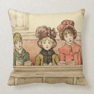 Singing in church (w/c on paper) throw pillow