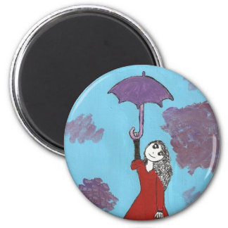 Singing in the Clouds, Gothic Umbrella Girl 2 Inch Round Magnet