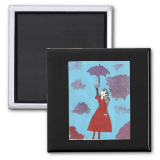 Singing in the Clouds, Gothic Umbrella Girl 2 Inch Square Magnet