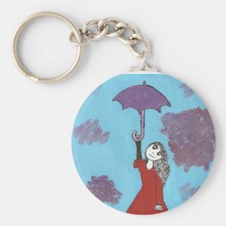 Singing in the Clouds, Gothic Umbrella Girl Basic Round Button Keychain