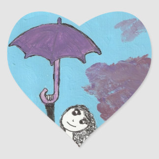 Singing in the Clouds, Gothic Umbrella Girl Heart Sticker