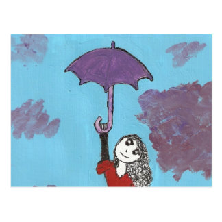 Singing in the Clouds, Gothic Umbrella Girl Postcard