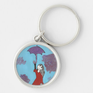 Singing in the Clouds, Gothic Umbrella Girl Silver-Colored Round Keychain