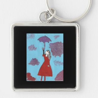 Singing in the Clouds, Gothic Umbrella Girl Silver-Colored Square Keychain