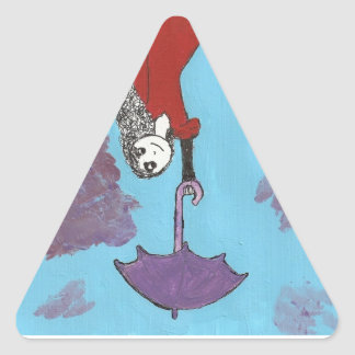 Singing in the Clouds, Gothic Umbrella Girl Triangle Sticker