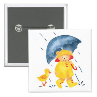"""""""Singing in the Rain""""-Ducks and Bear 2 Inch Square Button"""