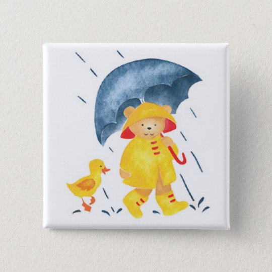 """Singing in the Rain""-Ducks and Bear Pinback Button"