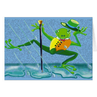 singing in the rain frog greeting card