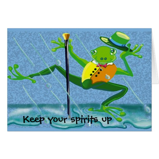 singing in the rain frog- Keep your spirits up Card