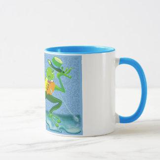 singing in the rain frog mug