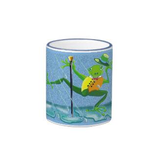 singing in the rain frog ringer mug