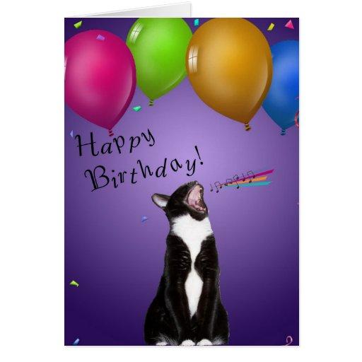 Singing Kitty Birthday Card | Zazzle