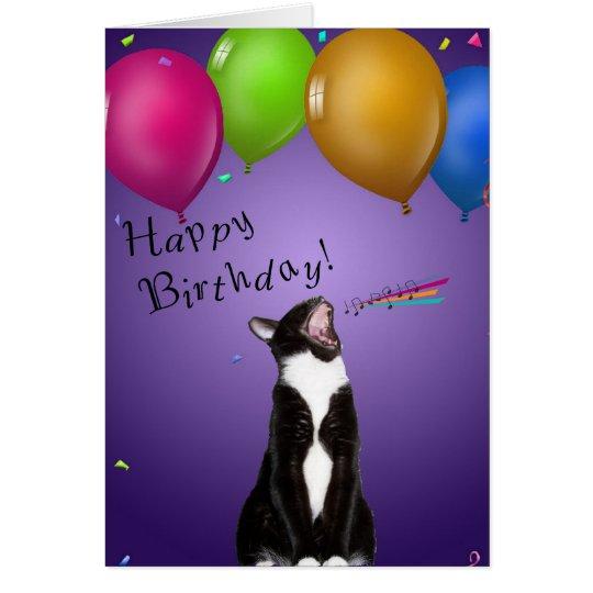 Singing Kitty Birthday Card
