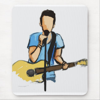 Singing Man with Guitar sketch Mouse Pad