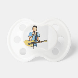 Singing Man with Guitar sketch Pacifier