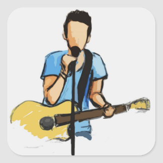 Singing Man with Guitar sketch Square Sticker