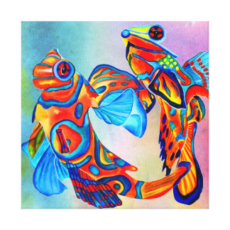 Singing mandarins canvas print