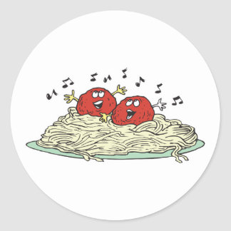 singing meatballs on spaghetti classic round sticker