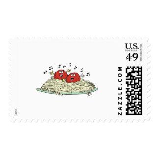 singing meatballs on spaghetti postage stamp