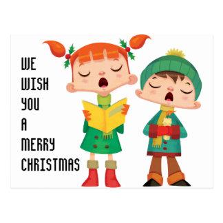 Singing Merry Christmas Carols Post Cards