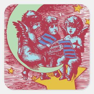 Singing Moon Kids Square Sticker