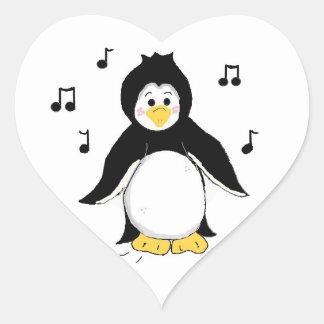 Singing Penguin Heart Sticker
