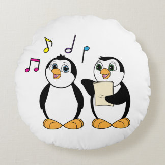 Singing Penguins with Music and Notes Round Pillow