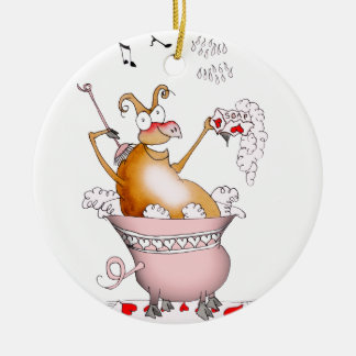 singing pig, tony fernandes ceramic ornament