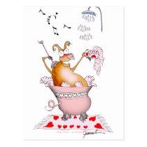 singing pig, tony fernandes postcard