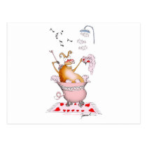 singing pig, tony fernandes postcard
