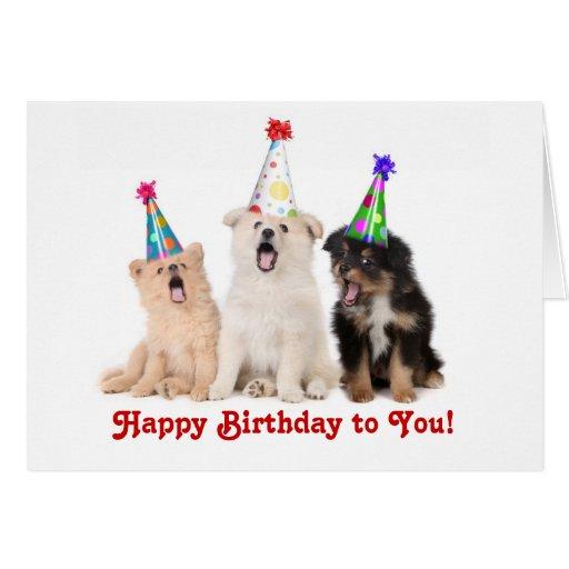 Singing Puppies Birthday Card