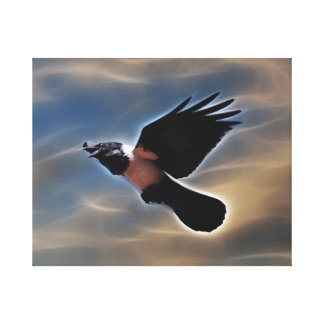 Singing raven in flight canvas print