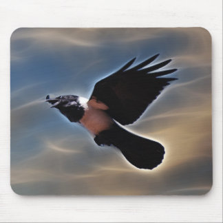 Singing raven in flight mouse pad
