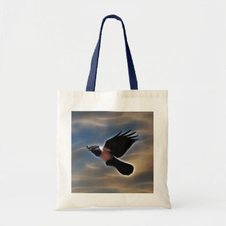 Singing raven in flight tote bag