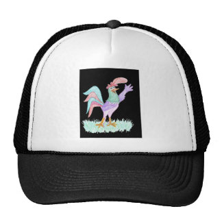 Singing Rooster on Black by Wendy C. Allen Trucker Hat
