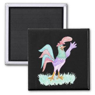 Singing Rooster on Black by Wendy C. Allen Magnet