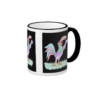 Singing Rooster on Black by Wendy C. Allen Ringer Coffee Mug